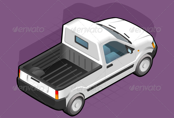 Isometric Pickup White Van - Man-made Objects Objects