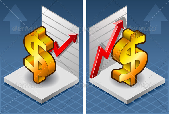 Isometric Symbol of Dollar with Red Arrow Up - Concepts Business