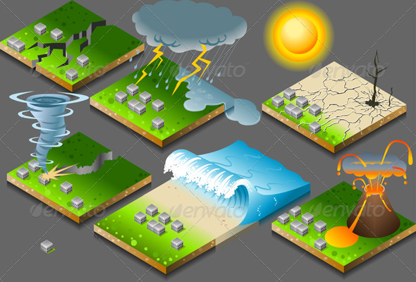 Isometric Natural Disasters on Button - Miscellaneous Conceptual