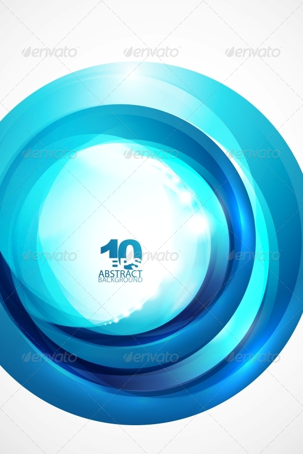 Abstract Blue Wave Circle Background - Backgrounds Decorative