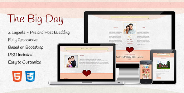 The Big Day – Responsive One-Page Wedding Template