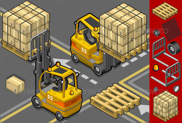 Isometric Forklift in Two Positions - Man-made Objects Objects