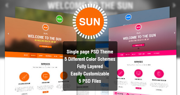 SUN – Single Page PSD Theme