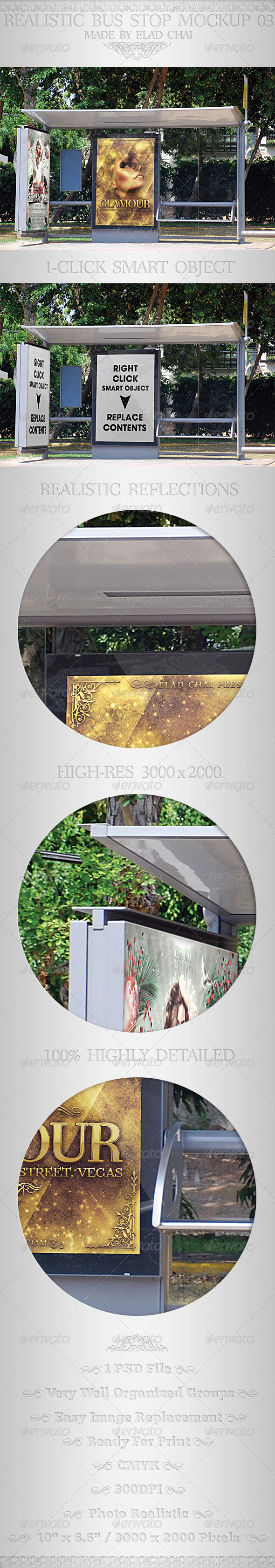 Realistic Bus Stop Flyer Poster Mockup 03 - Signage Print