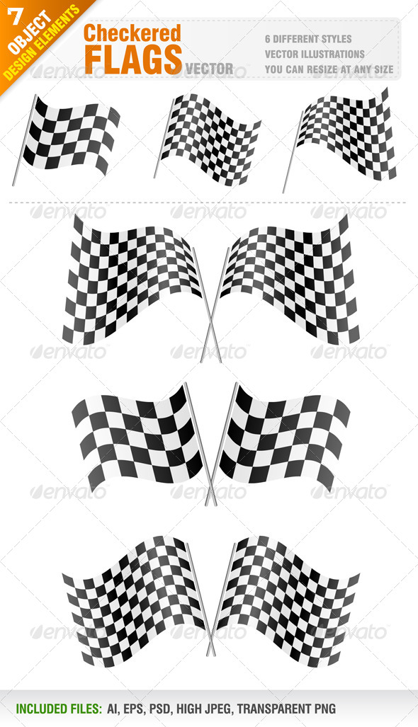 Checkered Flags Set - Man-made Objects Objects