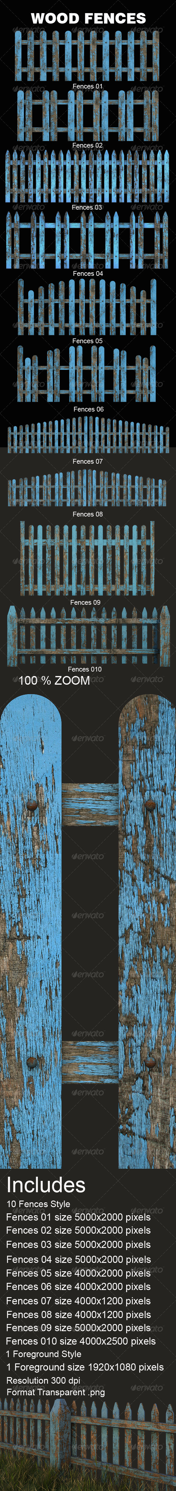 Old Wood Fences  - Objects 3D Renders
