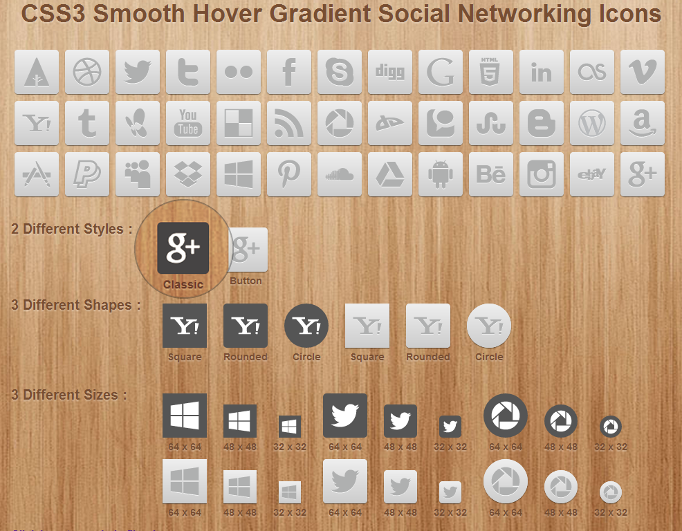 CSS3 Smooth Hover Gradient Social Networking Icons