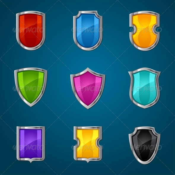 Set of Shield Icons, Symbols and Signs. - Computers Technology