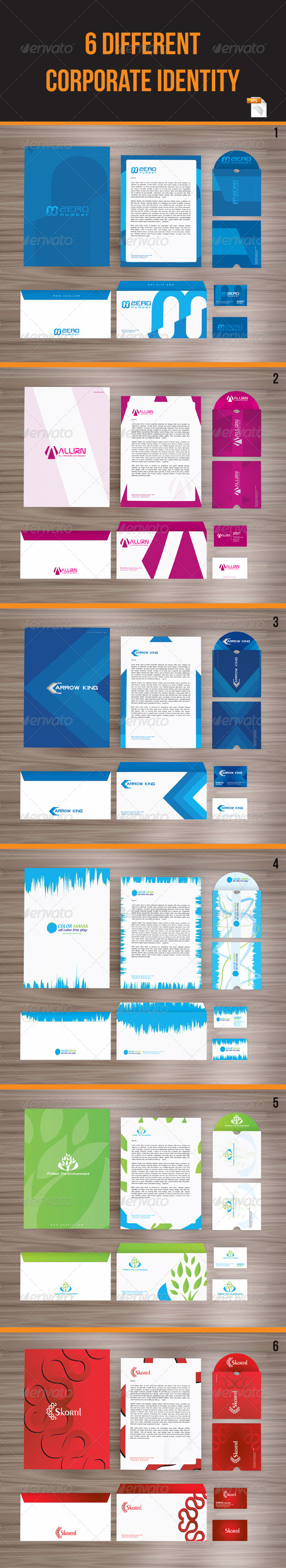 6 in 1 Packages Corporate Identity - Stationery Print Templates