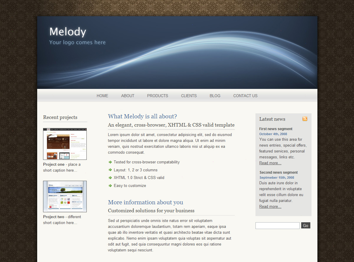 Melody - The Melody template in a 3 columns layout.