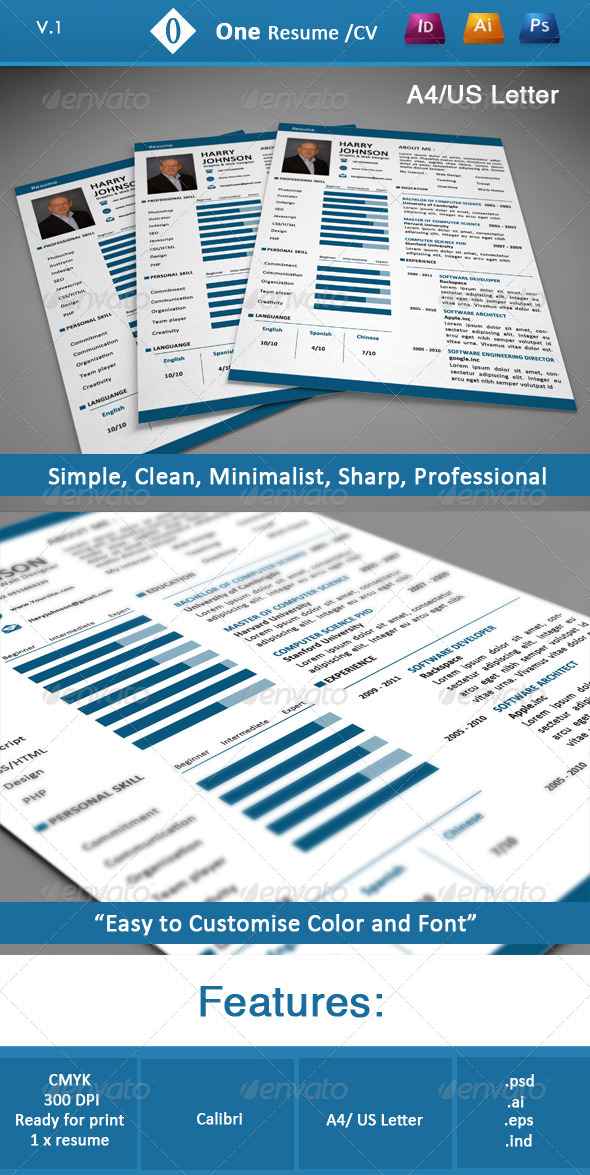 One Resume/CV - Resumes Stationery
