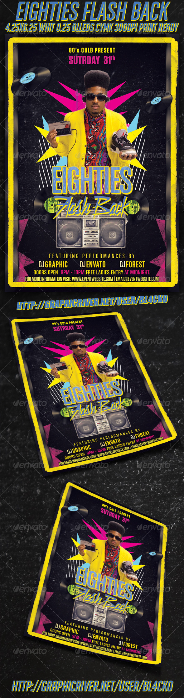 Eighties Flash Back Flyer - Clubs & Parties Events