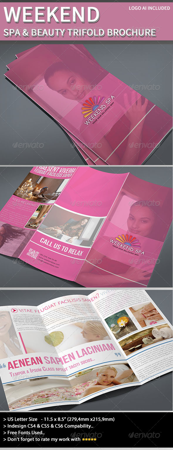 Trifold Brochure - Weekend Spa - Brochures Print Templates
