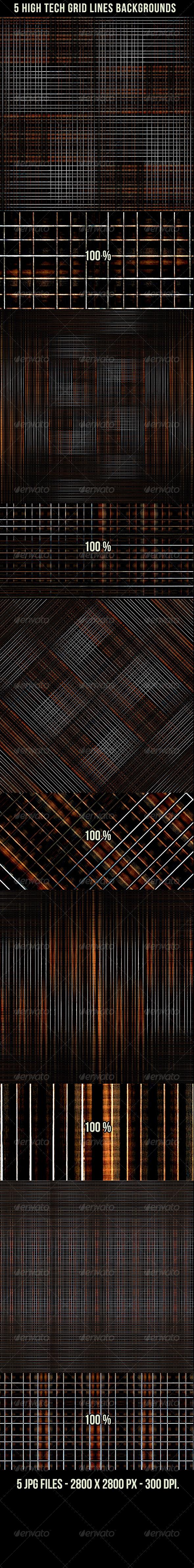 5 High Tech Grid Lines Backgrounds - Tech / Futuristic Backgrounds