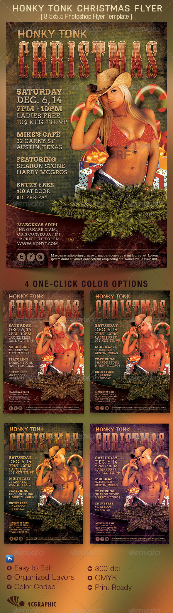 Honky Tonk Country Christmas Flyer Template - Clubs & Parties Events