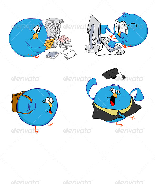 Four Blue Birds Education - Animals Characters