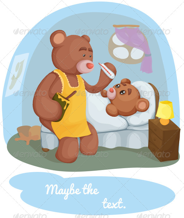 Sick Teddy Bear With Her Mother - Health/Medicine Conceptual