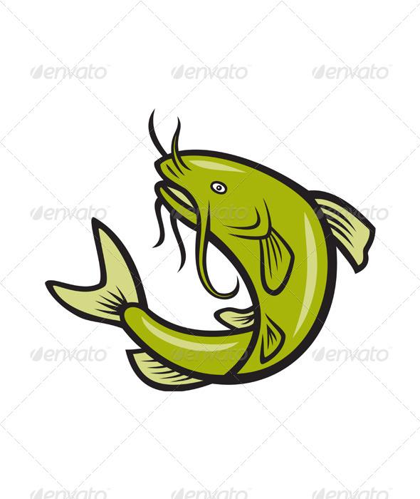 Catfish Fish Jumping Cartoon - Animals Characters
