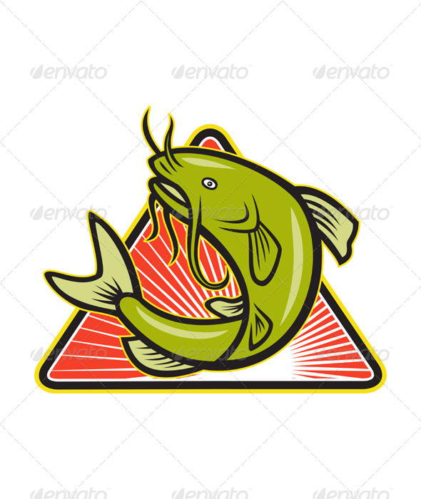 Catfish Fish Jumping Cartoon - Animals Characters