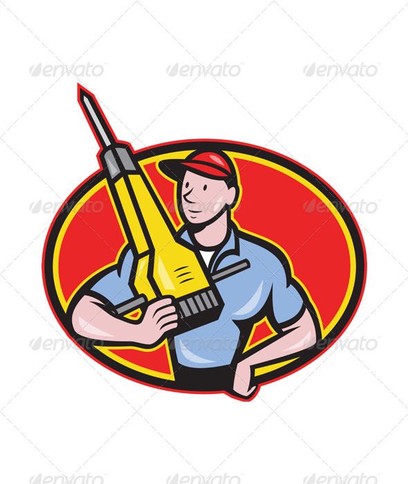 Construction Worker Jackhammer Pneumatic Drill - People Characters