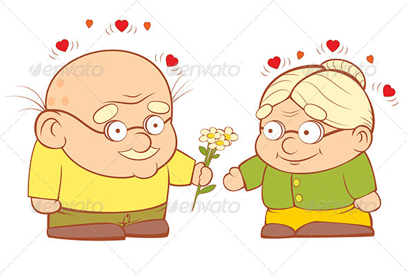 Old Couple In Love - People Characters