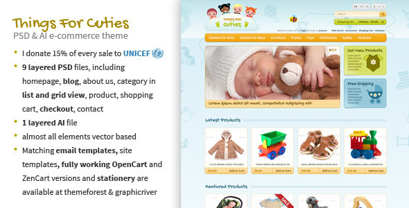 Things for Cuties – E-Commerce Baby Shop Template