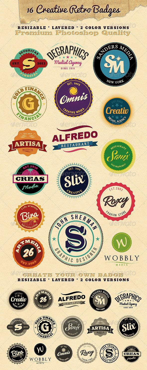 16 Resizable Retro Badges - Badges & Stickers Web Elements