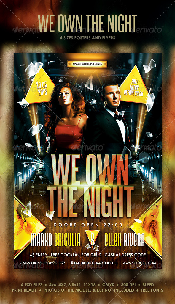 We Own The Night Posters and Flyer - Clubs & Parties Events