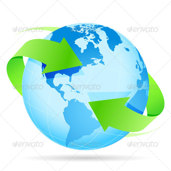 Icon Planet Earth Arrow - Objects Vectors