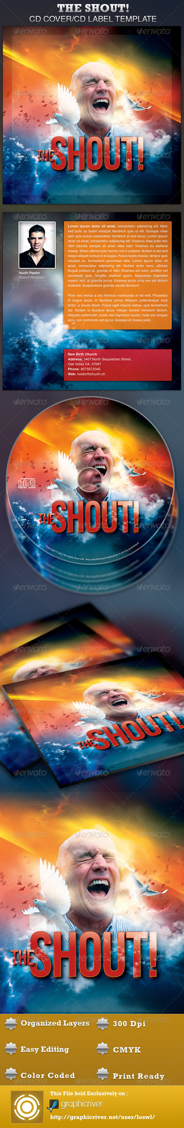The Shout CD Artwork Template - CD & DVD Artwork Print Templates