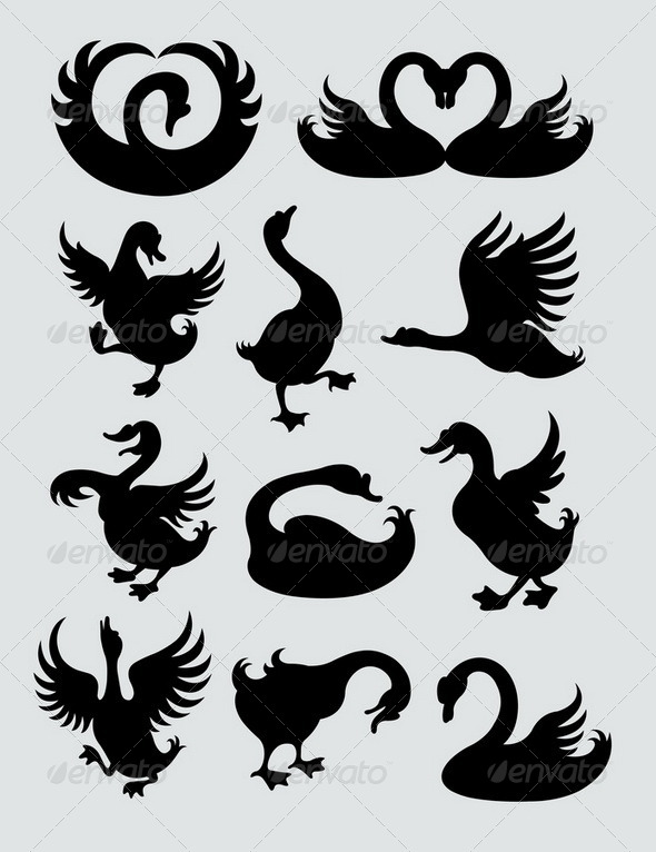 Duck and Swan Silhouettes - Animals Characters