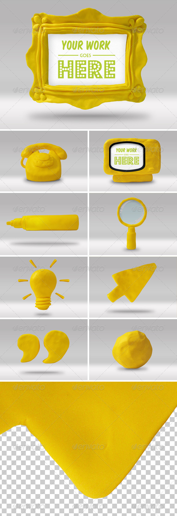 Set of 9 Handmade High-res Play Doh Icons - Web Icons