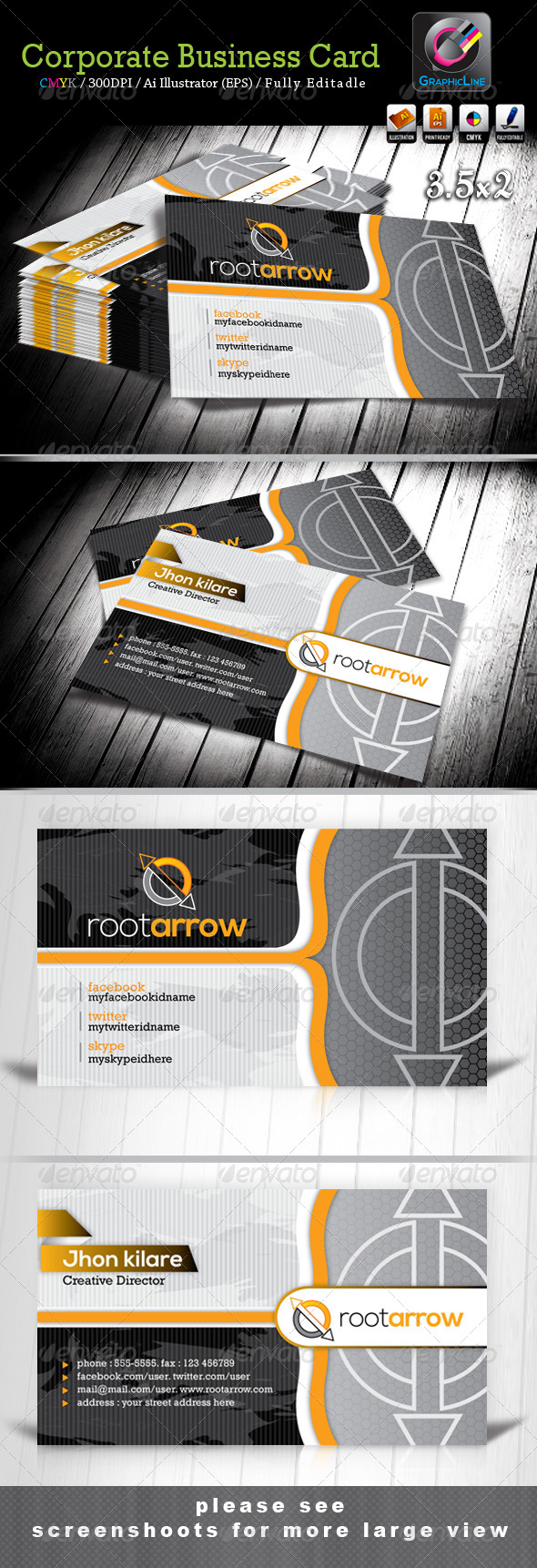 Root Arrow Corporate Business Card - Corporate Business Cards