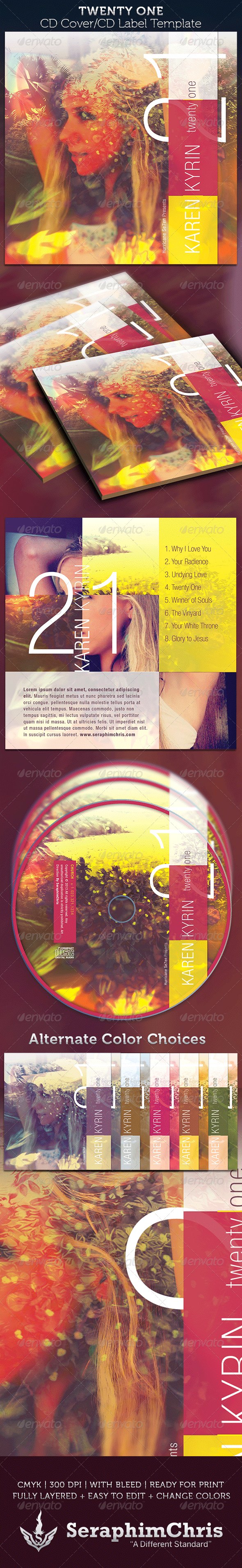 Twenty One: CD Cover Artwork Template - CD & DVD Artwork Print Templates
