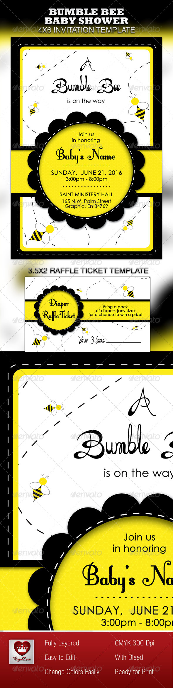 Bumble Bee Baby Shower Invitation & Raffle Ticket - Invitations Cards & Invites