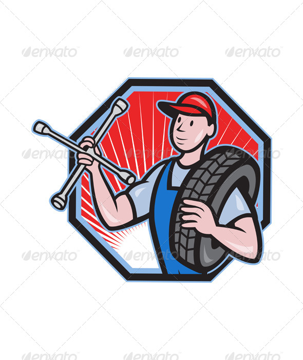 Mechanic With Tire Socket Wrench And Tire - People Characters