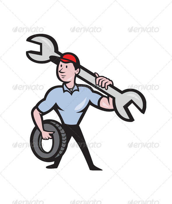 Mechanic With Spanner And Tire Wheel - People Characters
