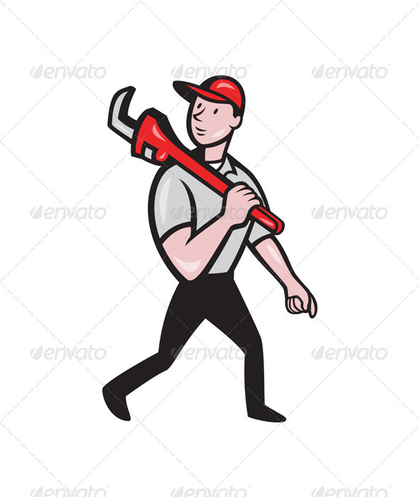 Plumber With Monkey Wrench Cartoon - People Characters