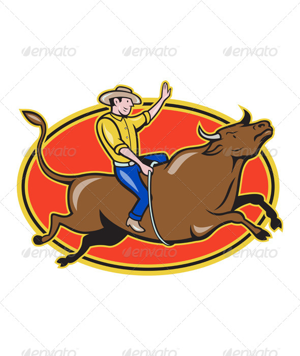 Rodeo Cowboy Bull Riding Retro - People Characters