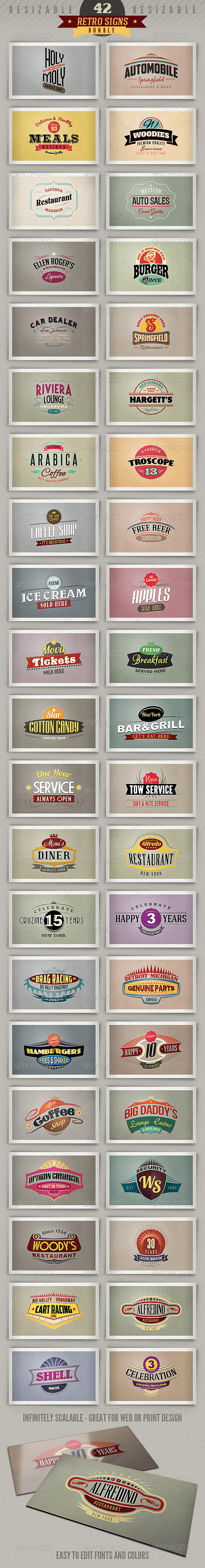 42 Retro Signs or Banners - Bundle - Badges & Stickers Web Elements