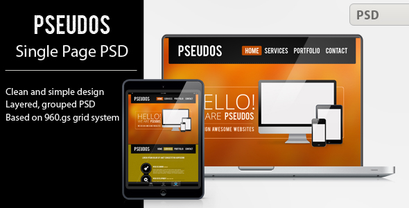 Pseudos Single Page PSD Template