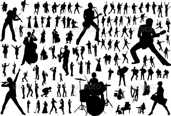 Music Vector Silhouettes - People Characters