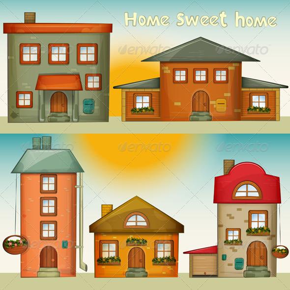 Cartoon Houses Set - Buildings Objects