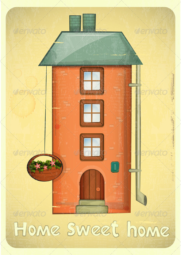 Cartoon Houses Postcard - Buildings Objects