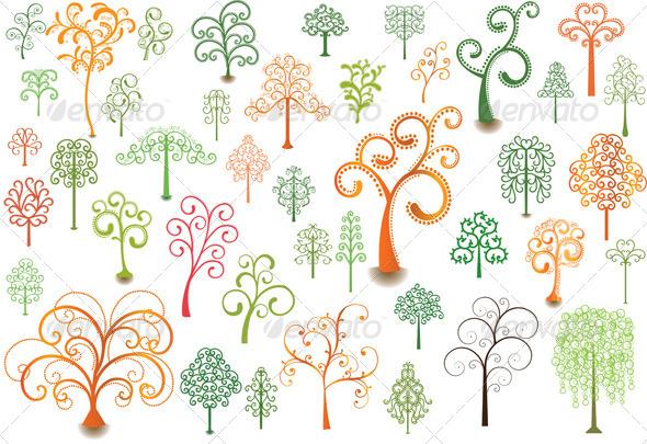 Curly Trees - Flourishes / Swirls Decorative
