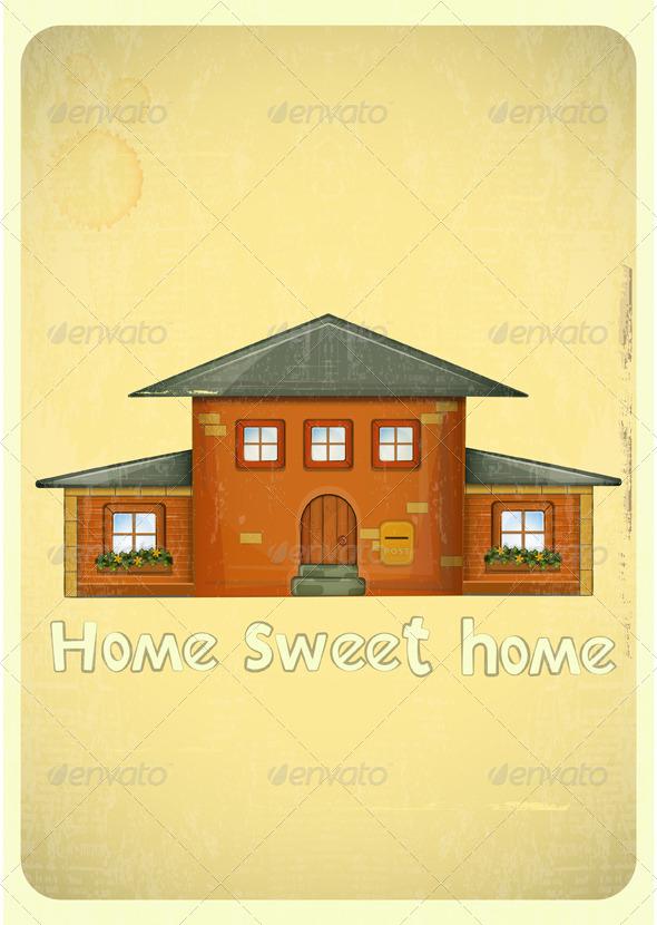 Cartoon Houses Postcard - Buildings Objects
