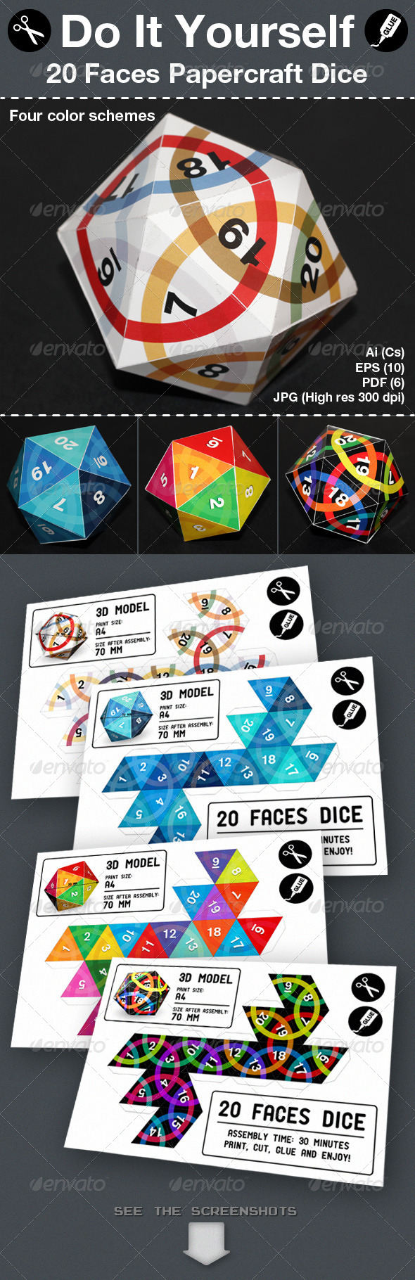 Twenty Faces Papercraft Dice - Packaging Print Templates