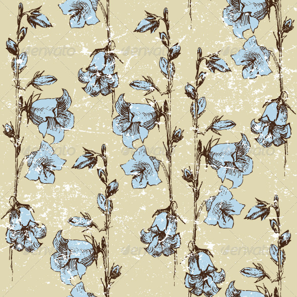 Seamless Background with Bluebells - Patterns Decorative