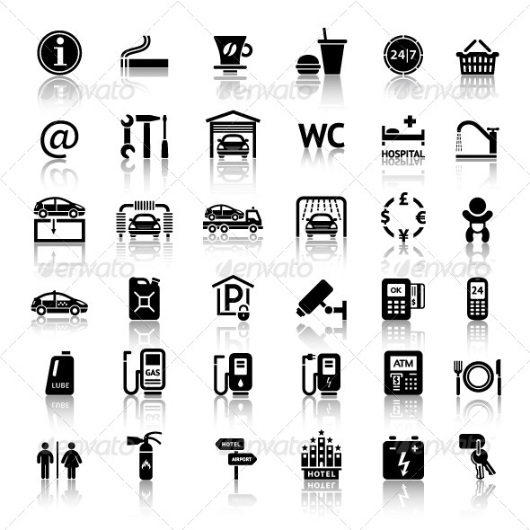Car Services 36 Icons - Travel Conceptual