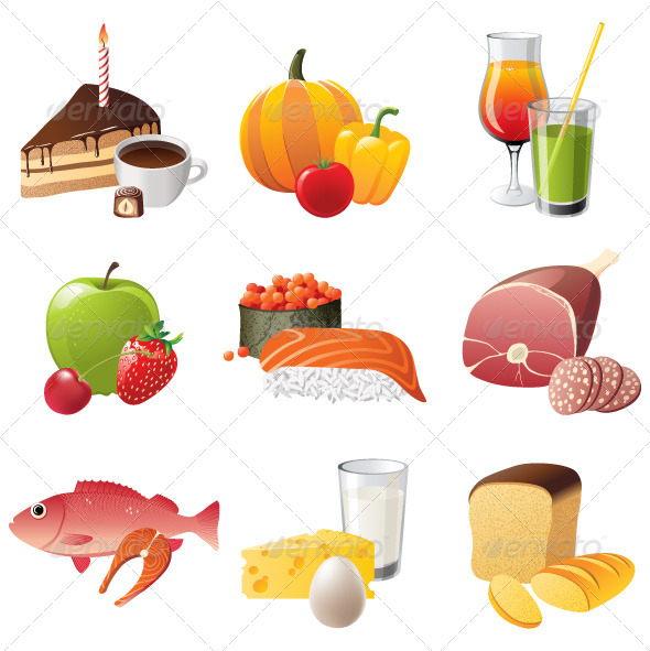 9 Food Icons  - Food Objects
